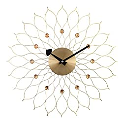 A.Cerco Analog Wall Clock - Gold Decorative Metal Silent Wall Clock – 19.5 Inch