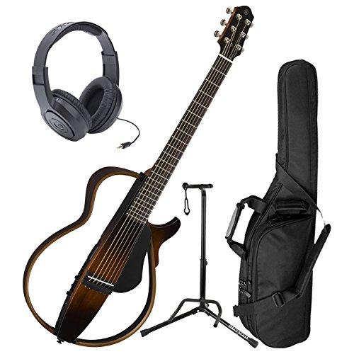 Yamaha SLG200S TBS Steel String Silent Guitar New 2015 Model w/ Gig Bag, Headphones, and Stand (Strings Yamaha Silent)