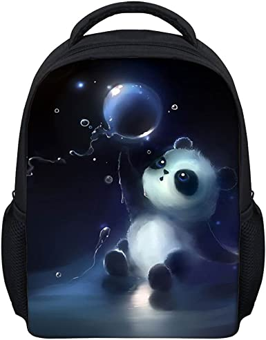 Kids backpack motif panda for nursery or leisure with name personalized  in blue or pink for girls and boys
