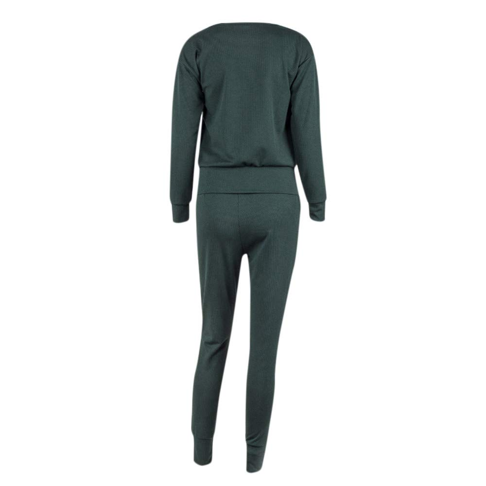 0de766f569ca Amazon.com: Womens Tracksuit Casual Plain Rib-Knit Pullover Sweater Top &  Long Pants Pocket Set 2 Piece Outfits Loungewear: Clothing