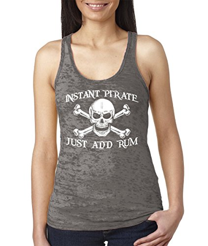(Women's Instant Pirate, Just Add Rum Burnout Racerback Tank Top (Charcoal, X-Large))