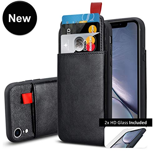iPhone XR Leather Case with 2 Screen Protector, Card Holder Money Pocket GuaGua Protective Hard Cover Cases for iPhone Xr 6.1 Inch, and Tempered Glass Protection - Black