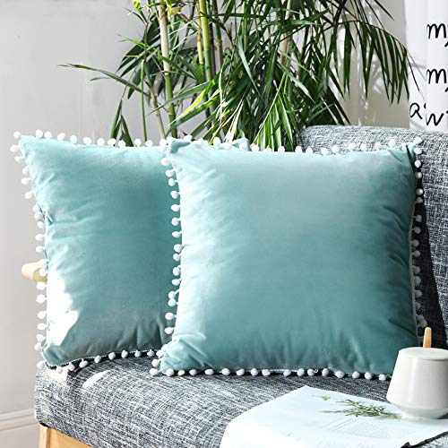 Bedbay Pom Poms Throw Pillow Covers Set of 2 Velvet Cushion Cover Decorative Pillow Cover 18x18 Inches Pompom Fringe Pillowcase for Couch Sofa Bedroom Car, NO Insert (Teal Green)
