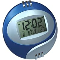Relógio de Mesa Digital Redondo Azul 20X15 Com Alarme