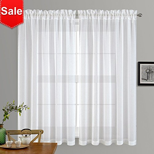 NICETOWN Sheer Window Curtains for Guestroom - Faux Linen Sh