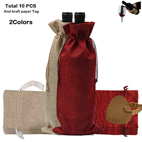 Asonlye 10pcs Wine Bags with Drawstring Burlap Bottle Bags Gift Packaging Reusable Bottle Wrap Dresses Pouches (2 Colors)