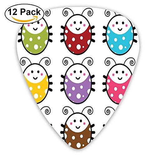 - Newfood Ss Number Of Cute Smiling Ladybugs Illustration In Colorful Dot Design Kids Nursery Guitar Picks 12/Pack Set