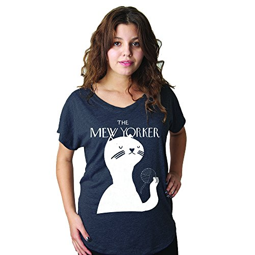 Modcloth Cat Lady Shirt Mew Yorker Boho Chic Clothing Art Deco New York City Black Dolman Top ()