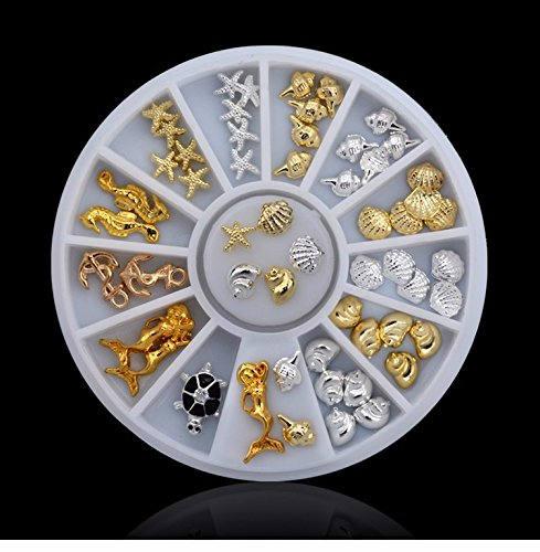 3D Metal Gold Silver Nail Art Tip Decoration Shell Starfish Seahorse Turtle+ Wheel YingYing Supplies