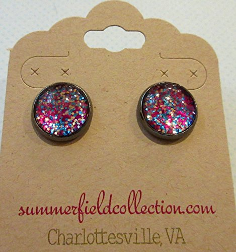 Preppy 80s Costume (Hematite-tone Magenta Pink Confetti Glitter Glass Stud Earrings Hand-painted 12mm)