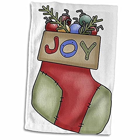3dRose Anne Marie Baugh - Christmas - Cute Country Christmas Stocking With Joy Illustration - 12x18 Hand Towel - Joy Stocking