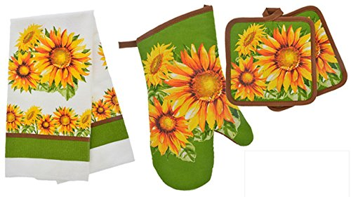 TopNotch Outlet Sunflower Decor - Potholder Towel Linen Set of 4 Pieces Sunflower Design Includes 1 Kitchen Towel 2 Potholders 1 Oven Mitt - Linen Sunflower Set - Kitchen Decor by TopNotch Outlet