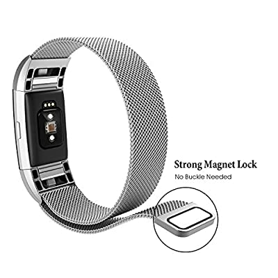 For Fitbit Charge 2 Bands Small and Large for Women Men 2 Pack, hooroor Milanese Loop Stainless Steel Metal Strap with Unique Magnet Lock Replacement Bracelet Wristbands for Fitbit Charge 2 Tracker