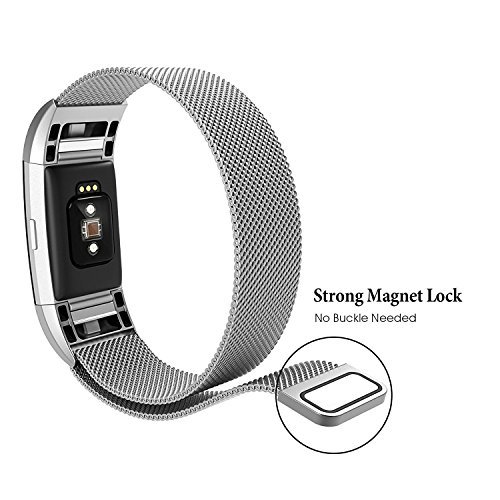 hooroor Compatible Bands Replacement for Fitbit Charge 2 Fitness Tracker Small Large Women Men, Magnetic Closure Clasp Milanese Loop Stainless...