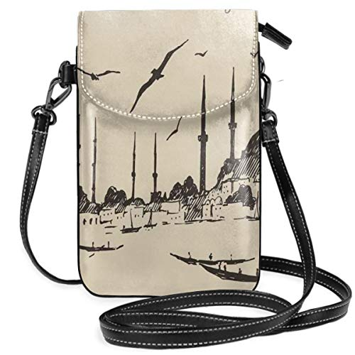 Women Small Cell Phone Purse Crossbody,Sketch Of Retro Istanbul Skyline With Gulls By Bosphorus Ottoman Heritage