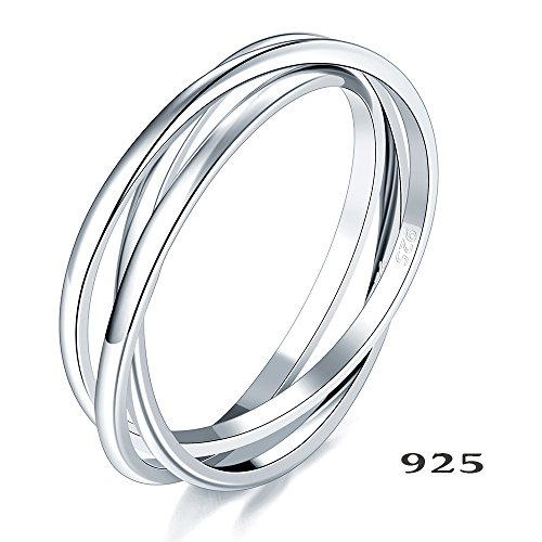 [925 Sterling Silver Ring Triple Interlocked Rolling High Polish Tarnish Resistant Wedding Band Stackable Ring Size 9] (Mothers Ring Band)