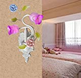 DMMSS Iron Ceramic Glass Continental Pastoral Wall Light Simple Bedside Lamp Children'S Bed Bedside Gentle Mirror Front Lamp (25 13 39Cm)