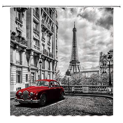 Feierman Eiffel Tower Shower Curtain Red Car Vintage Paris Bathroom Curtain Decor Waterproof Machine Washable with Hooks 70x70Inches