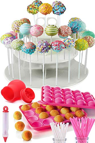 COMPLETE CAKE POP MAKER KIT - Jam packed with silicone cakepop baking mold, 120 lollipop sticks, candy and chocolate melting pot, decorating pen, bags, twist ties & 3-Tier display stand holder (Best Chocolate For Melting Into Molds)