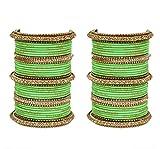 Ratna Bollywood Ethnic Parrot Green colour 78 bangles set Punjabi wedding wear Attractive bangles (2.8)