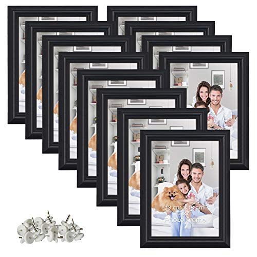 PETAFLOP 12 Pack 5x7 Picture Frame Set Hold 5 by 7 inch Black Photo Frames