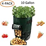 "Cheap Potato Grow Bags""10 Gallon"" Garden Vegetable Fabric Planters Bag with Handles and Access Flap for Planting Potato Carrot Peanut Onion,4-Pack"