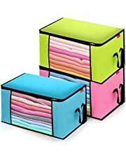 Clothes Storage Organizer, 3PCS Large Capacity Foldable Storage Bag with Reinforced Handle, 3 Layer Fabric with Sturdy Zipper, Clear Window, for Comforters, Bedding, Blankets Clothing(3 Color, 3Pack)