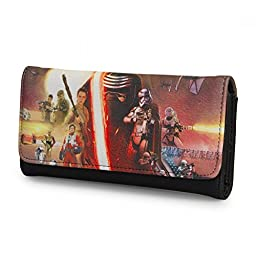 Star Wars Force Awakens Womens Faux Leather Tri-Fold Envelope Clutch Wallet