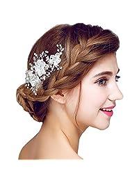 YAZILIND Headdress Beauty Women's Bridal Wedding Hair Clip Barrette Party Red Rhinestones Flower Alloy Women Hair Accessories