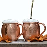 Beer Moscow Mule Copper Mugs, Pure Solid Copper Cups, Gift Set of Two 16 Oz ...