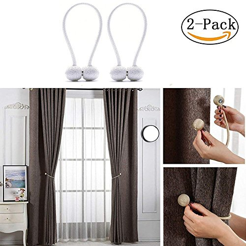 Aukuzi Magnetic Curtain Tiebacks, Creative Hand Knitting Curtain Rope Holdbacks, Holder for Window Sheer support, Classic European Style Strong Magnetic Clasp for Home Décor - Set of 2 (White) by Aukuzi (Image #5)