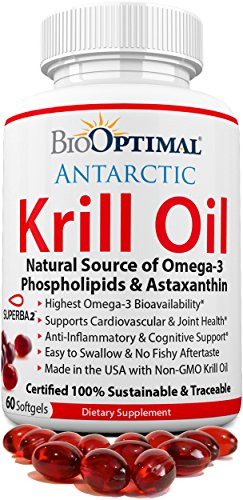 Krill Oil 1000 mg, Krill Oil Capsules - No Fishy Taste, Non-GMO, Omega 3 & Astaxanthin Supplement, Easy to Swallow 500mg Pills, Made in USA, Certified Sustainable, 60 Softgels 1 Month Supply
