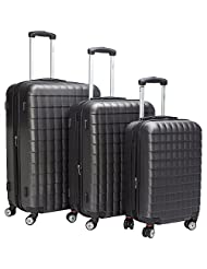 McBRINE eco friendly hard sided 3 pc luggage set on double wheels using 70 % recylced ABS Grey colour