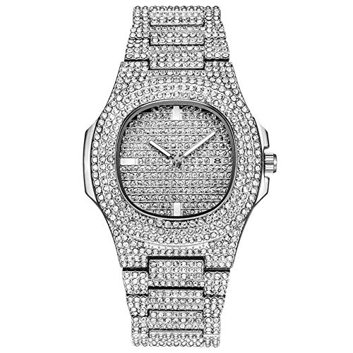 Shining Round Dial (wsloftyGYd Fashion Women Shining Rhinestones Inlaid Round Dial Calender Quartz Wrist Watch Fashion Starry Alloy with Diamonds Silver)