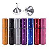 MUB 10 ml Travel Size Spray Bottles, Purse Size Refillable Empty Perfume Atomizer Bottles 7Pcs with 2 Funnels for Travel or Outgoing
