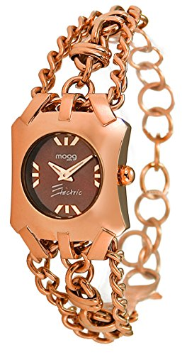 Moog Paris Electric Women's Watch with Chocolate Dial, Rose Gold Strap in Stainless Steel - M45064-003