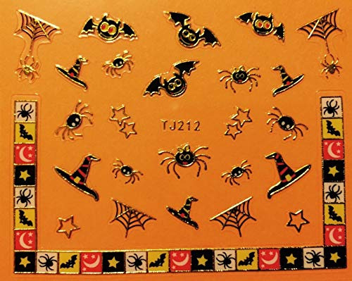 Nail Art 3D Decal Stickers Halloween Bat Spider Web Witch Hat Boo Scary Gold Color]()