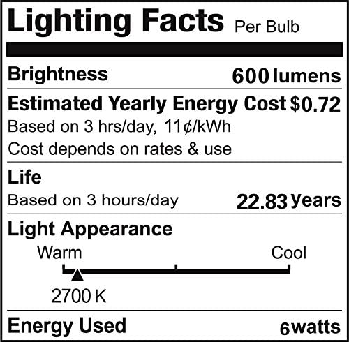 Vstar C35 LED Candelabra Filament Bulb 6w Candle Light Lamp with E12 Base,Warm White 2700k,600lm,120V,Dimmable and Equivalent to 50w Incandescent,Pack of 3
