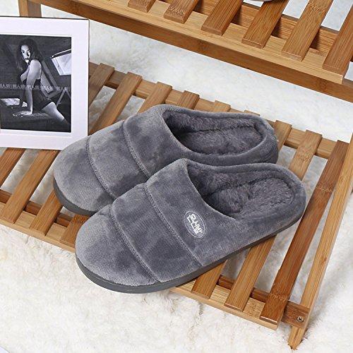Coton Fankou Femelle Pantoufles Épais Doux Chaud Hiver Piscine Couples Salon Anti-dérapant Belles Pantoufles Épaisses Hommes Et, 42/43, Gris