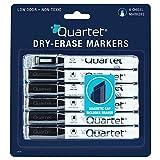 Quartet Dry-Erase Markers with Cap-Mounted Eraser, Chisel Tip, Low Odor, Black, 6-Pack (14079)