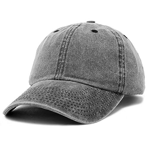 (DALIX Mens Pigment Dyed Washed Cotton Cap - Adjustable Hat 6 Panel Unstructured (Heavy Washed Black))