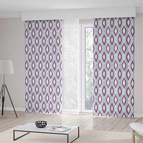 iPrint Ikat Decor Blackout Curtain,Oval Double Ikat Style Patterns Exotic Tribal Asian Oriental Indigenous Art Decor,Window Drapes 2 Panel Set Living Room Bedroom,157 W 84 L,Purple Green (Beaded Oval Privacy Set)