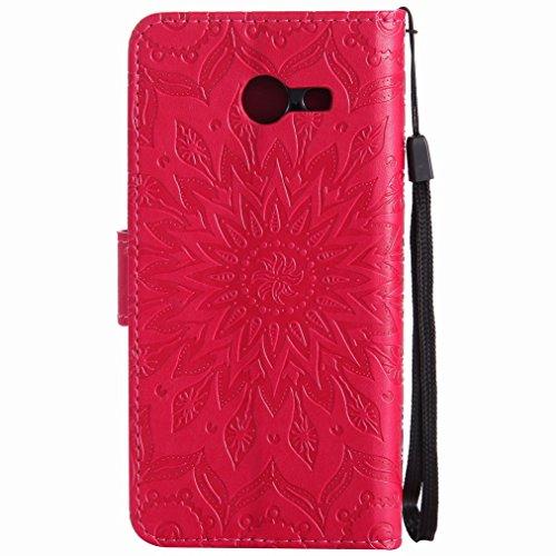 Yiizy Samsung Galaxy J5 (2017) Custodia Cover, Sole Petali Design Sottile Flip Portafoglio PU Pelle Cuoio Copertura Shell Case Slot Schede Cavalletto Stile Libro Bumper Protettivo Borsa (Rosso)