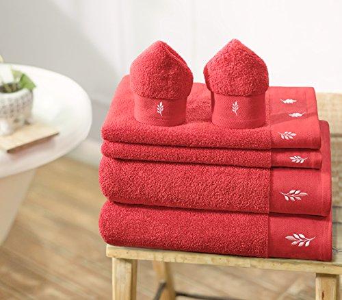 Swiss Republic Bath Towels Set- Rivera collection. 600 GSM zero twist Luxury towels. (6 piece Towels set, RED) (Leaf); 2 bath Towels, 2 hand Towels, 2 Face Towels