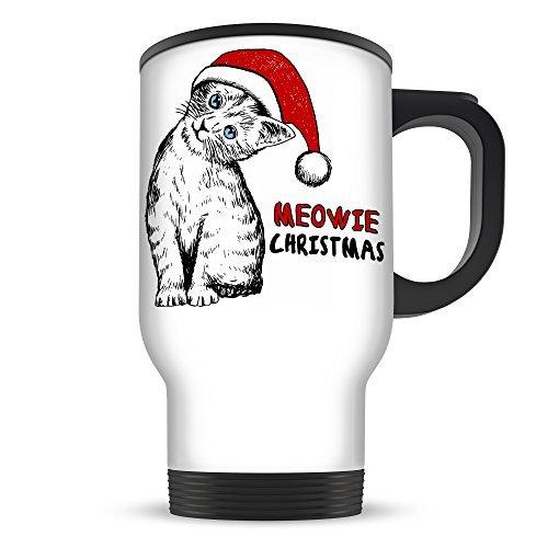 Meowie Christmas Cat Sketch Cute Aluminium Travel Mug - White (Meowie Christmas Cat)