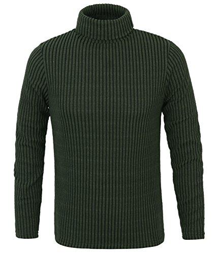 ililily Men Stripe Rib Knit Slim-fit Turtleneck Sweater Casual Pullover Jumper , Dark Green, US-Medium