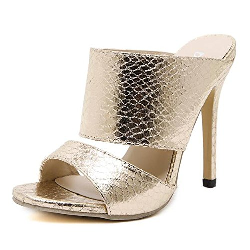 Women Ladies Open Toe High Heel Sandals Slippers Dress Evening Wedding Party Shoes Gold GKOy3v4L