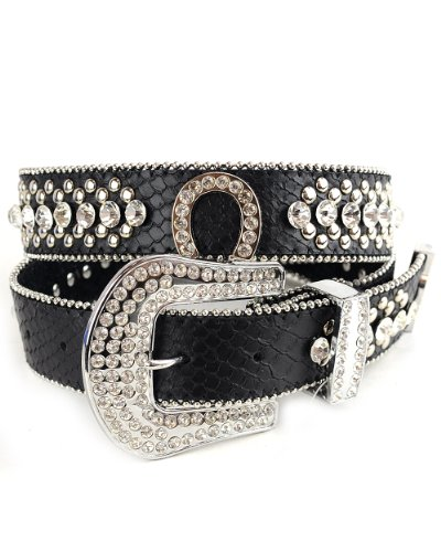 NYFASHION101 Genuine Leather Rhinestone Horseshoe Belt with Iced Out Snap On Buckle, (M/L, Black) (Iced Buckle Out Belt)