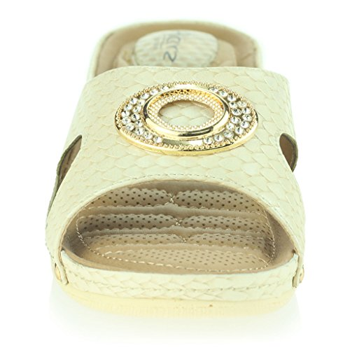 Mujer Señoras Puntos de Presión Amortiguado Respirable Suave Flexible Antideslizante Único Masaje Casual Ponerse Tacón de Cuña Sandalias Zapatos Talla Beige