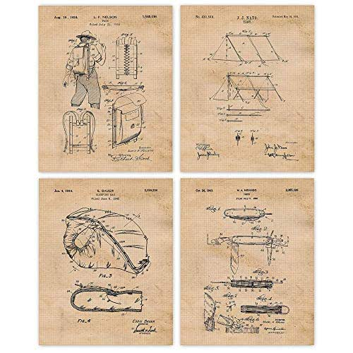 Vintage Camping Patent Art Poster Prints, Set of 4 (8x10) Unframed Photos, Great Wall Art Decor Gifts Under 20 for Home, Office, Garage, Man Cave, Student, Teacher, Campers, Hikers, Trekkers, Fan